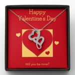 Happy Valentine's Day Double Hearts Necklace Gift For Wife