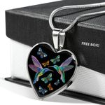 Hummingbird Love Black Background Gift For Her Heart Pendant Necklace
