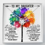 Colorful Tree Laugh Love Live Love Knot Necklace Gift For Daughter