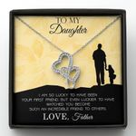 So Lucky To Have Been Your First Friend Double Hearts Necklace Gift For Daughter
