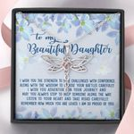 So Proud Of You Blue Flower Dragonfly Dreams Necklace Gift For Daughter
