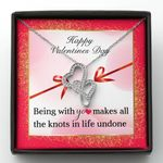 All The Knots Undone Happy Valentines Day Gift For Fiancee Double Hearts Necklace