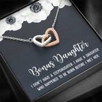 I Don't Have A Stepdaughter White Flower Interlocking Hearts Necklace Gift For Bonus Daughter