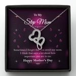 Purple Petals How Important You Are To Me Gift For Step Mom Double Hearts Necklace