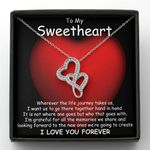 Gift For Lover Forever Hand In Hand Double Hearts Necklace