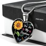 You Are My Sunshine Sunflower Stainless Heart Pendant Necklace Gift For Women