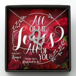 Gift For Fiancé Loves All Of You Red Roses Double Hearts Necklace