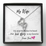 Out Of All The Stories Double Hearts Necklace Gift For Wife