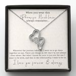 Promise Necklace I Love You Forever Gift For Lover Double Hearts Necklace