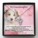 Cute Dog Gift For Granddaughter You Are In My Heart Today Double Hearts Necklace