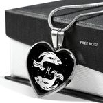 Pisces Zodiac Stainless Heart Pendant Necklace Gift For Pisces Girls