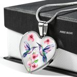 Watercolor Hummingbird Stainless Heart Pendant Necklace Gift For Girls
