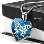 Blue Butterfly Galaxy Gift For Girls Stainless Heart Pendant Necklace