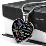 The Two Of Us Together Flying High Hummingbird Stainless Heart Pendant Necklace Gift For Women