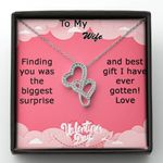 Gift For Wife Finding You Was The Biggest Surprise Double Hearts Necklace