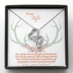 Horn Deer I Need To Say I Love You Gift For Wife Double Hearts Necklace