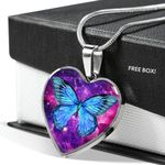 Blue Butterfly Galaxy Stainless Heart Pendant Necklace Gift For Women
