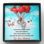 I Love You With All My Heart Gift For Wife Red Balloon Double Hearts Necklace