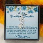How Proud I Am Blue Hibiscus Giraffe Couple Necklace Gift For Daughter