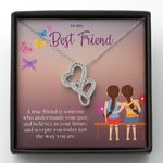 Believe In Your Future Gift For BFF Double Hearts Necklace