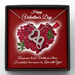 Rose Are Red Violets Are Blue Double Hearts Necklace Gift For Wife