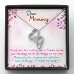Thank For Teaching Me To Do Things Double Hearts Necklace Gift For Mama