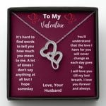 Love You Till My Last Breath Double Hearts Necklace Gift For Wife