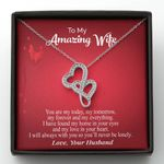 My Love In Your Heart Double Hearts Necklace Gift For Wife