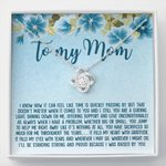 Blue Hibiscus I Was Raised By You Love Knot Necklace Gift For Mummy