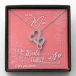 Pink Flower Hand Drawing To Our Family You Are The World Double Hearts Necklace Gift For Mom