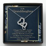 Just Hold This Close To Feel My Love Gift For Granddaughter Double Hearts Necklace