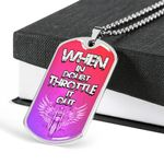 When In Doubt Throttle It Out Dog Tag Pendant Necklace Gift For Men