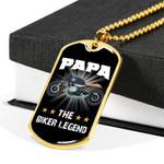 The Biker Legend 18K Gold Dog Tag Pendant Necklace Gift For Papa