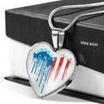 Heart Pendant Necklace Gift For Women Dog US Flag In My Heart