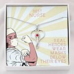 Real Heroes Wears Maks Below Below Their Eyes Stethoscope Necklace Gift For Nurse