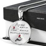 Bird My Mind Still Talks To You On Lady Hand Stainless Circle Pendant Necklace Gift For Women