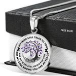 Purple Butterflies Flowing Tree Of Life Circle Pendant Necklace Gift For Women