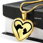 18K Gold Heart Pendant Necklace Gift For Women A Love For Dog And Cat