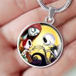 Jack Skellington Family Cartoon Circle Pendant Necklace Gift For Women