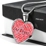 Las Vegas Nevada Vacation Heart Pendant Necklace Gift For Women