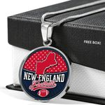 New England Football Circle Pendant Necklace Gift For Men