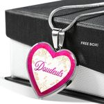Daudeuls White And Pink Background Heart Pendant Necklace Gift For Women