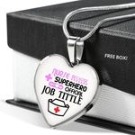 Superhero Offical Job Tittle Heart Pendant Necklace Gift For Nurse