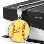 Leo Zodiac Loves Baseball Circle Pendant Necklace Gift For Women