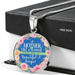 A Mother Like A Flower Circle Pendant Necklace Gift For Women