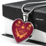 You And Me Love Forever Heart Pendant Necklace Gift For Women