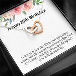 Happy 26th Birthday Pink Rose Interlocking Hearts Necklace Gift For Daughter