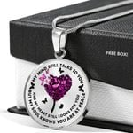 Pink Butterflies Heart Tree My Mind Stainless Circle Pendant Necklace Gift For Women