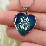 Girls Are Strong Heart Pendant Necklace Gift For Women