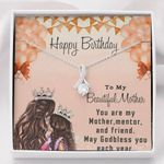 Happy Birthday My Mentor 14K White Gold Alluring Beauty Necklace Gift For Mama